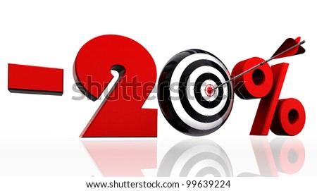 twenty per cent 20% red discount symbol with conceptual target and arrow on white background.clipping path included
