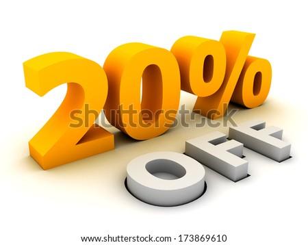 Twenty percent off.  - stock photo