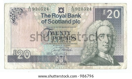 twenty scots pounds - stock photo