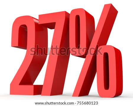Twenty seven percent off. Discount 27 %. 3D illustration on white background.
