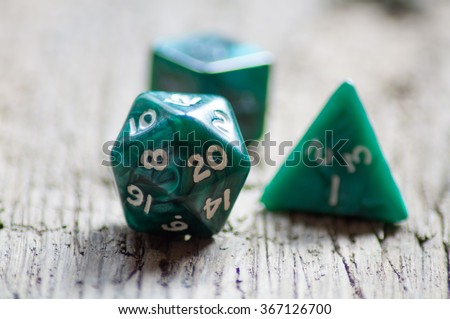 Twenty sided dice used for various board games - stock photo