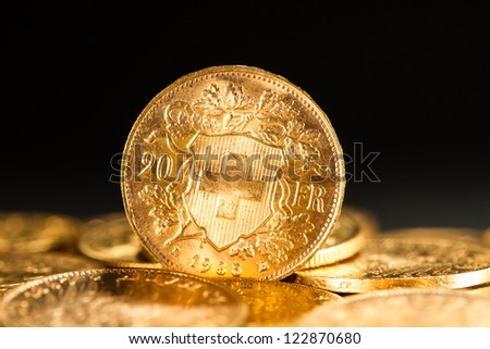 Twenty Swiss Francs gold coins