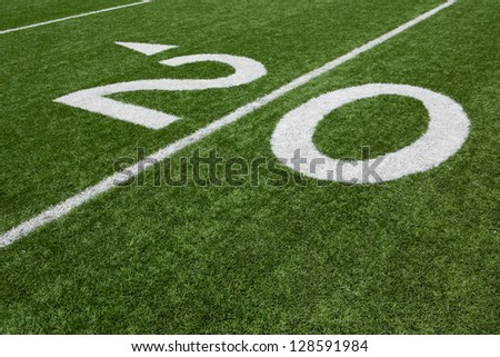 Twenty Yard Line of a Football Field - stock photo