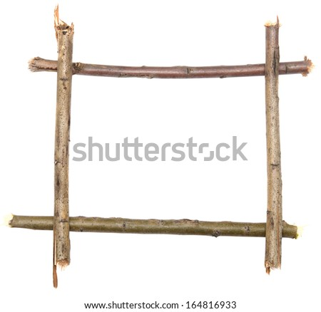 twig frame isolated on white