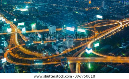 Twilight, aerial view highway interchanged long exposure - stock photo