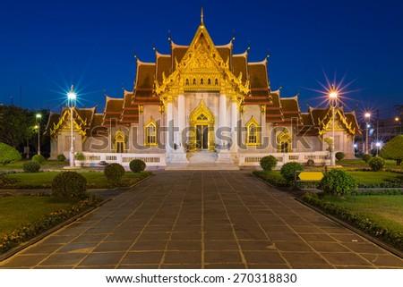Twilight at Marble Temple (Wat Benchamabophit Dusitvanaram) bangkok Thailand - stock photo