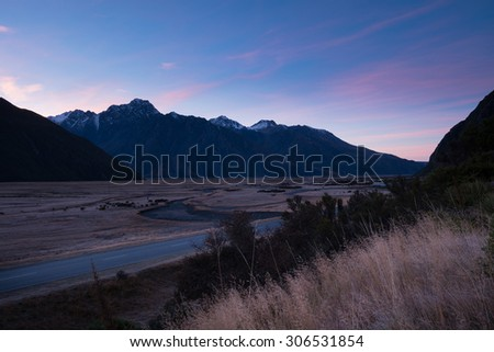 Twilight at Mount Cook Village, Aoraki, South Island, New Zealand - stock photo