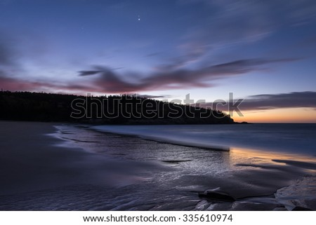 Twilight at Sand Beach in Maine - stock photo