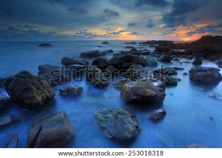 twilight at sea shore