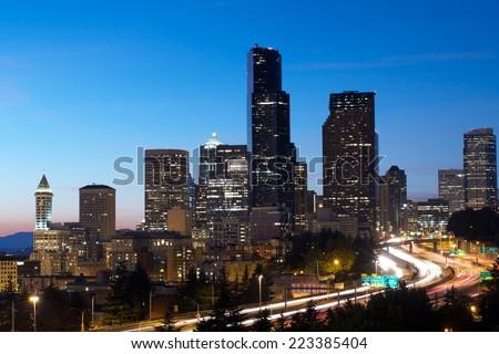 Twilight at Seattle Skyline - stock photo