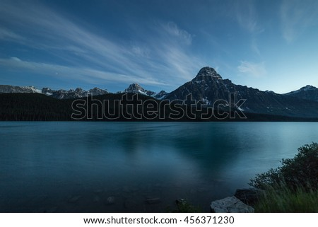 Twilight at Waterfowl Lake in Banff National Park, Alberta, Canada - stock photo