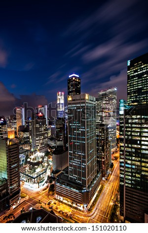 Twilight business city Singapore - stock photo