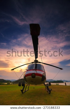 Twilight helicopter on the helipad.
