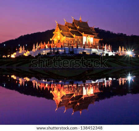 Twilight Ho kham luang temple northern Chiang Mai Province Thailand - stock photo
