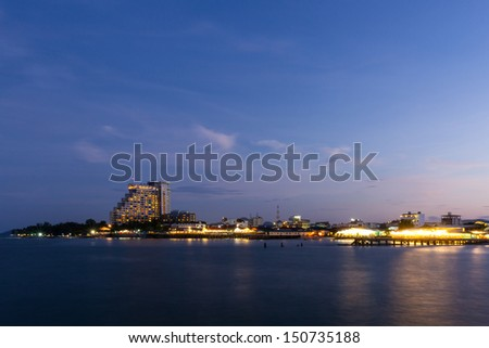 Twilight Hua Hin city.Thailand Tourism unseen thailand. - stock photo