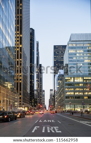 Twilight in Downtown of NYC - stock photo
