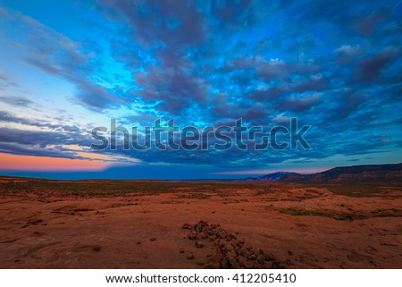 Twilight in the Escalante desert, Utah, USA. - stock photo