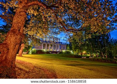 Twilight landscape on estate - stock photo