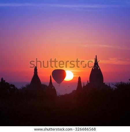 Twilight magical sunset in Bagan Myanmar (Burma). Beautiful photography of famous travel destination - stock photo