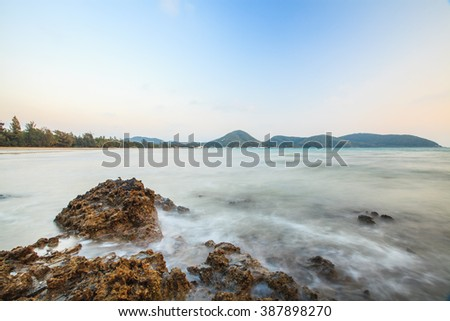 Twilight Mist Sea Thailand - stock photo