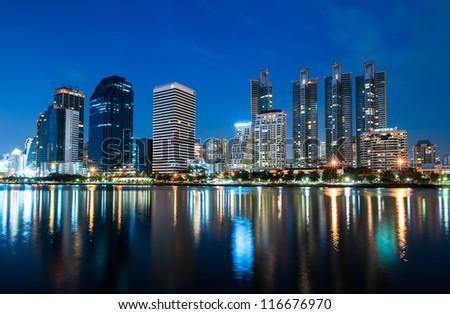 Twilight of Bangkok city - stock photo