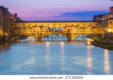 Twilight of Ponte Vecchio the ancient bridge of Florence, Italy