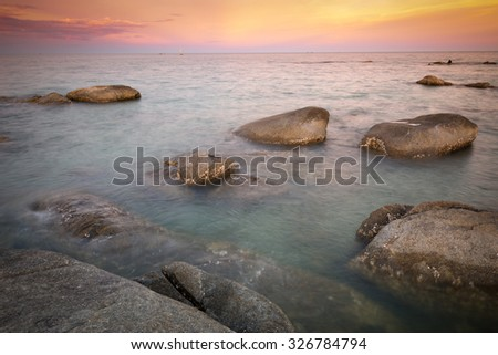 Twilight of the sea shore after sunset at Hua Hin beach, favorite place of Thailand