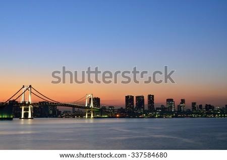 Twilight of Tokyo Bay  - stock photo