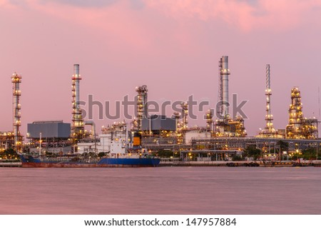 twilight  oil refinery and petroleum  - stock photo