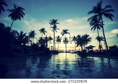 Twilight on amazing ocean tropical beach. - stock photo