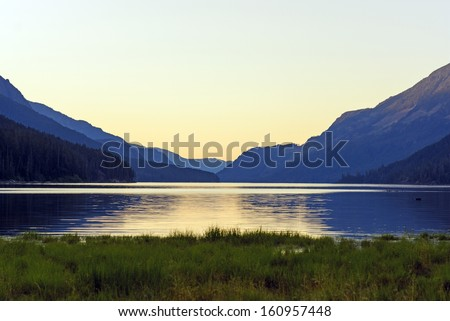 Twilight on Buttle Lake in Strathcona Provincial Park - stock photo