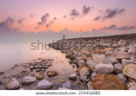 Twilight on the cape, Landmark of Rayong province, Thailand - stock photo