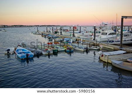 Twilight on the pier - stock photo