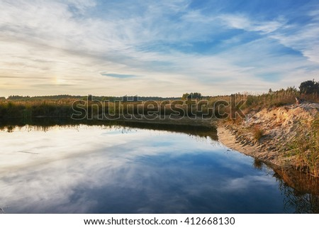 Twilight on the pond. - stock photo
