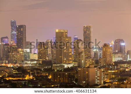 Twilight over business buildings cityscape