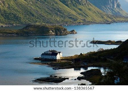 Twilight over fjord in Lofoten in northern Norway