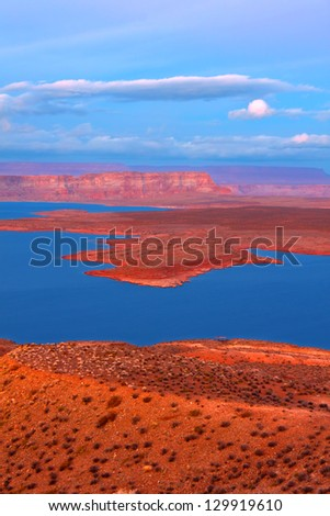 Twilight over Lake Powell in Glen Canyon National Recreation Area - stock photo