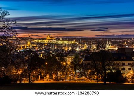 Twilight over Prague - stock photo