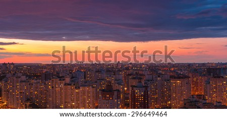 Twilight panoramic cityscape. Aerial view. Typical modern illuminated residential area. Kiev. Ukraine. - stock photo