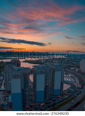 Twilight panoramic cityscape. Aerial view. Typical modern residential area. Kiev. Ukraine. - stock photo