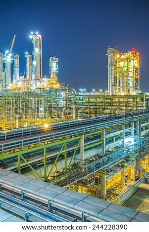 Twilight scene of chemical plant - stock photo