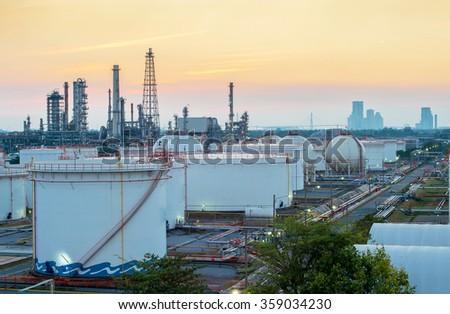 Twilight scene of petroleum and refinery plant - stock photo