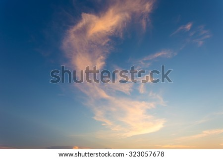 Twilight sky and colorful clouds , clouds in the clear sky