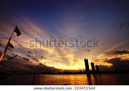 Twilight sky at asiatiuqe Bangkok - stock photo