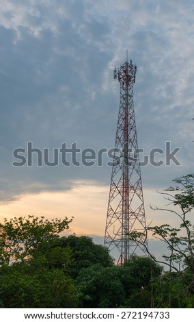 Twilight sky with Cell phone towers