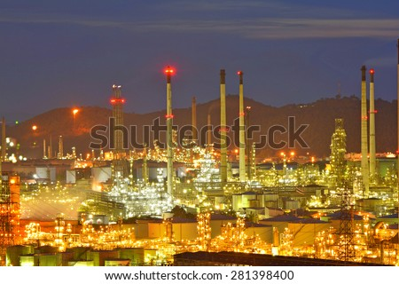 twilight time of oil and petrochemical plant - stock photo