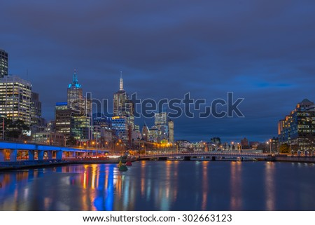 Twilight time, Skyline at Melbourne city, Victoria, Australia.