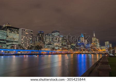 Twilight time with skyline at Melbourne city, Victoria, Australia.