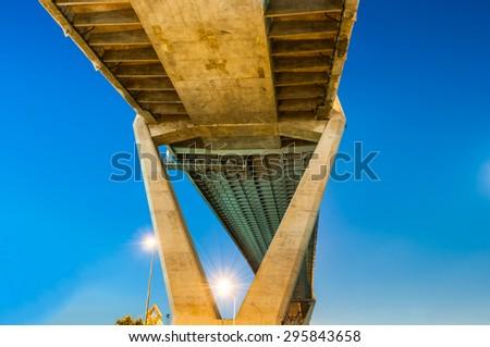 Twilight under view Bhumibol highway Bridge  - stock photo