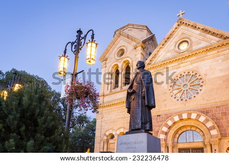 twilight view of the Basilica of St francis in Santa Fe, New Mexico - stock photo